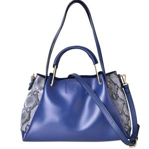 Handbags - Blue and black snake side hobo tote bag